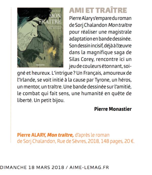 Pierre Alary, Mon traître, d'après le roman de Sorj Chalandon (Rue de Sèvres)